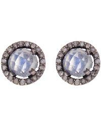 Adornia - Sterling Silver Echo Moonstone & Champagne Diamond Halo Stud Earrings - Lyst
