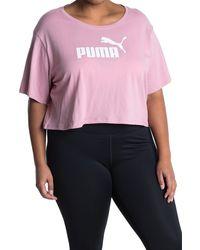 PUMA Cropped Logo Tee - Pink