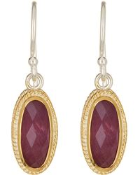 Anna Beck - 18k Gold Plated Sterling Silver Oval Ruby Drop Earrings - Lyst