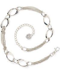 Anne Klein - Chain Lion Head Logo Drop Belt - Lyst