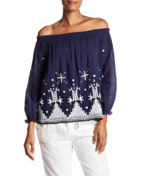 Joie - Kistine Off-the-shoulder Embroidered Blouse - Lyst