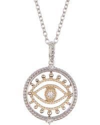 Judith Ripka Two-tone 14k Gold & Sterling Silver Evil Eye Diamond Pendant Necklace - Metallic