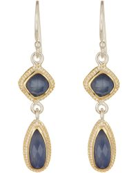 Anna Beck - 18k Gold Plated Sterling Silver Double Drop Sapphire Earrings - Lyst