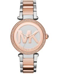 MICHAEL Michael Kors - Women's Parker Crystal Accented Bracelet Watch, 39mm - Lyst