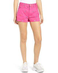 Tommy Hilfiger Logo Embroidered Denim Shorts - Purple