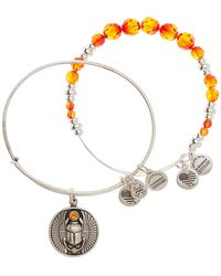 ALEX AND ANI - Scarab Charm Expandable Wire Bangle - Set Of 2 - Lyst