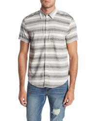 Lucky Brand - Laguna Short Sleeve Stripe Slim Fit Woven Shirt - Lyst