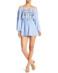 Haute Rogue - Embroidery Front Off-the-shoulder Romper - Lyst