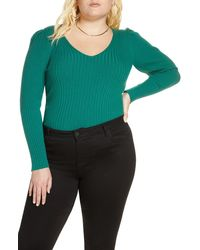 Leith Puff Shoulder Ribbed Sweater - Green