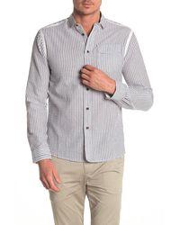Descendant Of Thieves Striped Seersucker Regular Fit Shirt - Gray