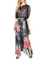 Komarov Floral Charmeuse & Chiffon Maxi Dress With Popover - Multicolor