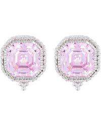 Judith Ripka Estate Sterling Silver Stud Earrings - Pink