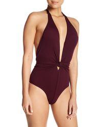 CYN & LUCA - Walter Plunge Neck One-piece Swimsuit - Lyst