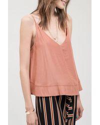 Blu Pepper V-neck Slinky Woven Camisole - Pink