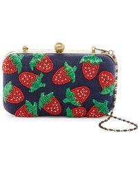 G-Lish Beaded Strawberry Hard Case Clutch - Blue