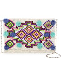 G-Lish - Beaded Pompom Envelope Clutch - Lyst