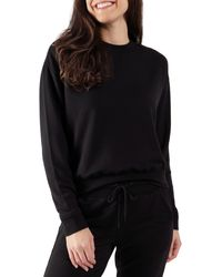 90 Degrees Missy Terry Brushed Long Sleeve - Black
