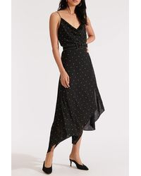 Veronica Beard Heera Dotted Print Asymmetrical Hem Dress - Black
