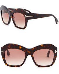 ae74590fecd2 Tom Ford - Emmanuelle 54mm Square Sunglasses - Lyst