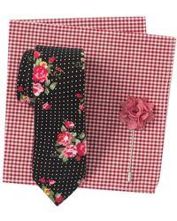 Original Penguin Patterson Floral Tie, Pocket Square, & Lapel Pin Set - Black