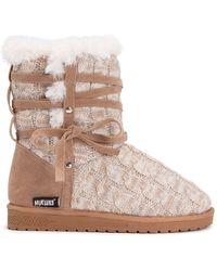 Muk Luks Camila Faux Fur Knit Boot - Brown