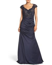 La Femme - Embellished Lace & Satin Mermaid Gown - Lyst