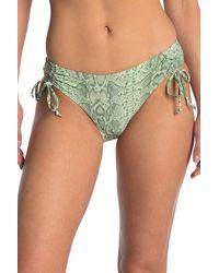 VYB Snake Printed High Leg Cinched Bikini Bottoms - Green