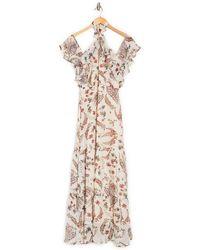Lucy Paris Cold Shoulder Floral Halter Maxi Dress - Natural