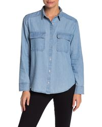 Caslon Two Pocket Chambray Shirt (regular & Petite) - Blue