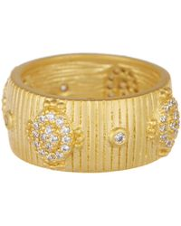 Freida Rothman - 14k Yellow Gold Amazonian Allure Plated Sterling Silver Pave Cz Ring - Size 5 - Lyst