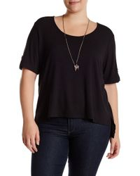 Halo - Ribbed Short Sleeve Tee With Necklace (plus Size) - Lyst