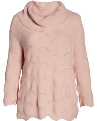 Sejour Pointelle Tunic Sweater (plus Size) - Pink