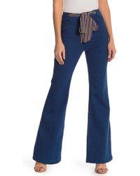 Jealous Tomato Tie Waist Bell Bottom Jeans - Blue