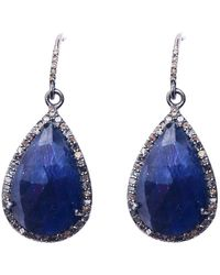 Adornia Sterling Silver Diamond Halo Framed Blue Sapphire Drop Earrings
