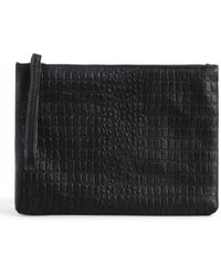 Day & Mood Bree Small Croc Embossed Leather Clutch - Black