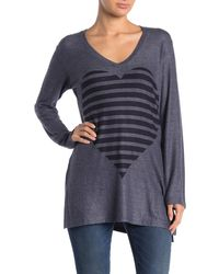 Go Couture V-neck Basic Hacci Sweater - Blue