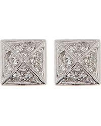EF Collection - 14k White Gold Diamond Pave Mini Pyramid Stud Earrings - 0.18 Ctw - Lyst