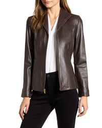 Cole Haan Cole Haan Lambskin Leather Jacket - Brown