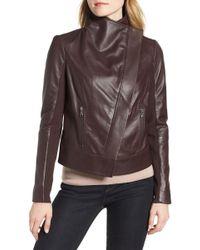 Trouvé - Trouv? Drape Front Leather Jacket - Lyst