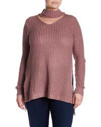 Derek Heart Choker Neck Knit Sweater (plus Size) - Multicolor
