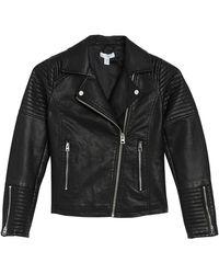 TOPSHOP Rosa Faux Leather Biker Jacket - Black