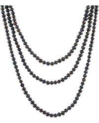 Splendid - Endless Black 8-9mm Freshwater Pearl Necklace - Lyst