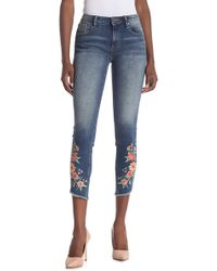 Miss Me Floral Embroidered Ankle Skinny Jeans - Blue