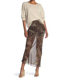 Nili Lotan Ella Sheer Silk Cheetah Print Maxi Skirt - Brown