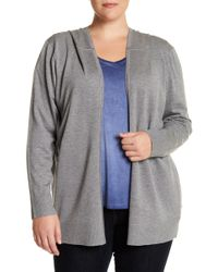 Cable & Gauge - Hooded Long Sleeve Open Front Cardigan (plus Size) - Lyst