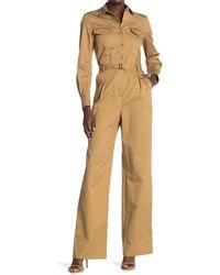 Nili Lotan Josie Belted Long Sleeve Jumpsuit - Natural