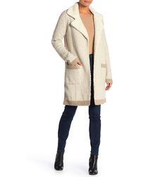 Love Token Fleece Trimmed Tweed Sweater Coat - White
