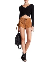 Lamarque Willalace Suede Leather Fringe Shorts - Brown