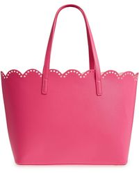 BP. Scalloped Faux Leather Tote - Pink
