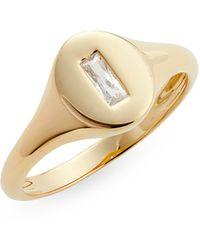 Nordstrom Baguette Cubic Zirconia Signet Ring - Metallic